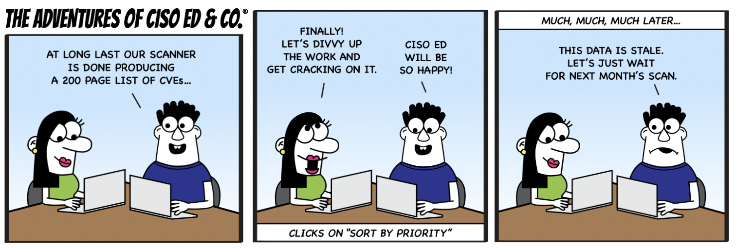 Adventures of CISO Ed & Co, Stale data