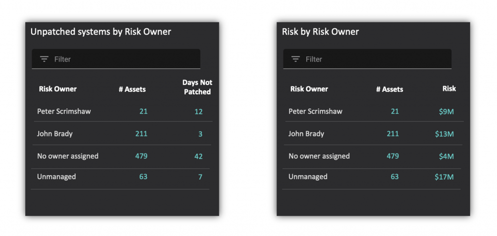 Comparing Risk Owners for NIST Cybersecurity Framework